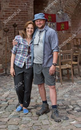 German Actors Devid Striesow (r) and Martina Gedeck Pose During the Shooting of 'I'm Off Then' in Berlin-spandau Germany 11 August 2014 the Besteller of the Same Name by Entertainer Kerkeling is Being Made Into a Film Which Will Come to German Cinemas in 2015 Germany Berlin