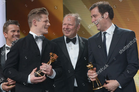 (l-r) Italian Televison Host Markus Lanz German Actors Max Von Der Groeben and Axel Milberg and British Actor Clive Owen During the 48th Golden Camera Award Ceremony in Berlin Germany 2 February 2013 the Award Honours Outstanding Achievements in Television Film and Entertainment Germany Berlin