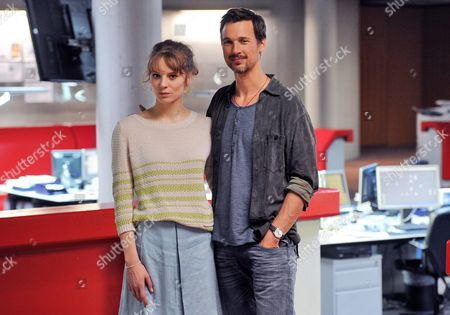 German Actors Lilith Stangenberg (as Naja Koltes) and Florian David Fitz (as Fabian Groys) Pose For a Photo During the Filming of the Movie 'Lichtjahre' (lit 'Lightyears') in Cologne Germany 24 July 2013 the Film Will Be Shown in Theaters From Autumn 2014 Germany Cologne