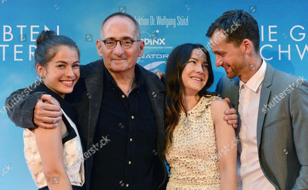 From (l-r) German Actors/cast Members Henriette Confurius Hannah Herzsprung and Florian Stetter Pose with German Director Dominik Graf (2-l) As They Arrive For Movie Premiere in Weimar (thuringia) Germany 23 July 2014 Germany Weimar