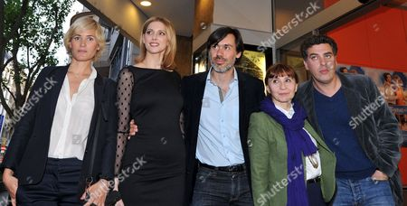 Actresses Judith Godreche (l-r) and Frederique Bel Director Emmanuel Mouret Actress Ariane Ascaride and Producer Frederic Niedermayer Pose During the Premiere of Their Movie 'The Art of Love' at the Delphi Kino in Stuttgart Germany 09 May 2012 the Movie Opens in German Theatres on 17 May Germany Stuttgart