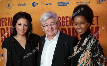 German Producer Minu Barati (l-r) Her Husband Former German Foreign Minister Joschka Fischer and Romney Mueller-westernhagen Arrive For the Premiere of 'Ausgerechnet Sibirien' (lit : Siberia of All Things) at the Kulturbrauerei in Berlin Germany 09 May 2012 the Movie Opens in German Theatres on 10 May Germany Berlin