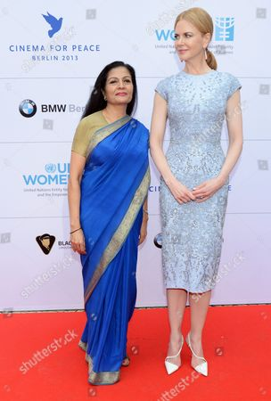 Deputy Executive Director of Un Women Lakshmi Puri (l) and Australian Actress Nicole Kidman Arrives For the Cinema For Peace Gala Dinner at Soho House in Berlin Germany 12 July 2013 the Cinema For Peace Foundation Will Honor the Organization Un Women and Its Goodwill Ambassador Nicole Kidman at the Gala Dinner Germany Berlin