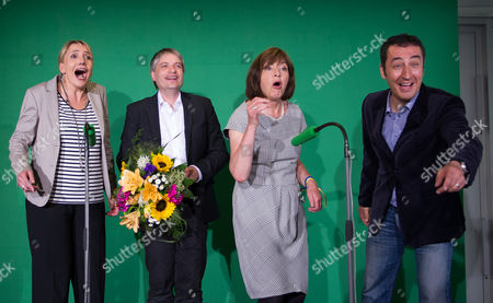 Federal Chairwoman of the Alliance '90/the Greens Simone Peter (l-r) Frontrunners For the European Election Sven Giegold and Rebecca Harms and the Chairman Cem Oezdemir Celebrate the First Projections During the Election Night of the European Election 2014 in Berlin Germany 25 May 2014 the European Elections Will Form a New European Parliament Whose 751 Members Will Help Set Laws in the European Union For Five Years to Come About 400 Million People in the 28-country Bloc Are Eligible to Vote Germany Berlin