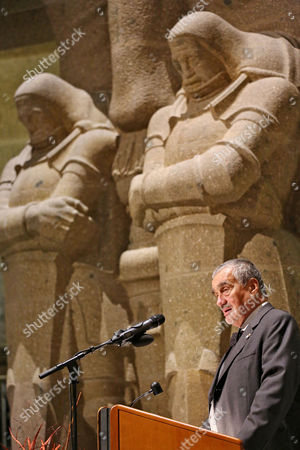 Former Czech Foreign Minister Karel Schwarzenberg Speaks at the Ceremony to Mark the 200th Anniversary of the Battle of Nations in the Battle of the Nations Monument in Leipzig Germany 18 October 2013 More Than 6 000 Participants Are Expected to Reenact the Battle on 20 October 2013 That Took Place Between the Armies of Russia Prussia Austria Sweden and the French Army of Napoleon in 1813 Germany Leipzig