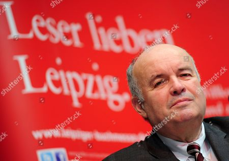 Stock Photo of President of the German Book Trade Association Gottfried Honnefelder Attends a Press Conference of the Leipzig Book Fair in Leipzig Germany 14 March 2012 Some 2 071 Publishers From 44 Countries Will Present Their Books at the Leipzig Book Fair Which Will Take Place From 15 to 18 March About 160 000 Visitors Are Expected Germany Leipzig
