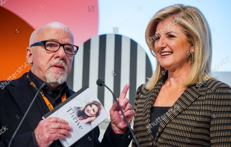 Us Media Entrepreneur Arianna Huffington (r) the Founder of the Huffington Post News Website Smiles Next to Brazilian Writer Paulo Coelho (l) During the Digital Life Design Conference in Munich Germany 20 January 2014 Germany Munich