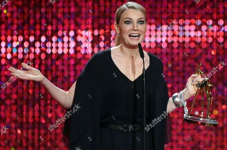 German Comedian Martina Hill on Stage with the Bambi Trophy in the Category 'Comedy' During the Award Ceremony in Duesseldorf Germany 22 November 2012 the Bambis Are the Main German Media Awards and Are Presented For the 64th Time Germany Duesseldorf