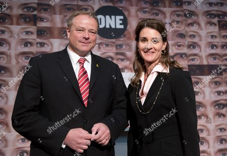 German Development Aid Minister Dirk Niebel (fdp) and Melinda Gates Co-chairwoman of the Bill & Melinda Gates Foundation Are Guests at the Presentation of the One Campaign 'I Look There!' ('ich Schaue Hin!) at the Museum For Communication in Berlin Germany 27 June 2013 the Campaign Wants the Next Federal Government to Keep Promises Concerning the Fight Against Extreme Poverty Germany Berlin