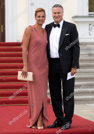 Former Swimmer Franziska Van Almsick and Her Partner Juergen B Harder Arrive at the Bellevue Palace in Berlin Germany 09 July 2012 Prince Albert Ii of Monaco and His Wife Charlene Are Visiting Germany and Were Invited by the German President to Dine at the Palace Germany Berlin