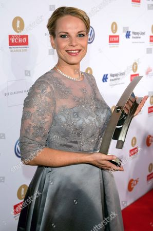 Latvian Lyric Mezzo-soprano Elina Garanca Poses After Receiving an Echo Classic Music Award in the Category 'Solo Recording of the Year (duets / Opera Arias)' at the Konzerthaus in Berlin Germany 06 October 2013 the Echo Classic Has Been Awarded Since 1994 Germany Berlin