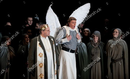 German Tenor Klaus Florian Vogt As Lohengrin (c-r) Performs During the Dress Rehearsal of Richard Wagner's Opera 'Lohengrin' at Deutsche Oper Berlin in Berlin Germany 12 April 2012 the Romantic Opera in Three Acts Premieres on 15 April 2012 Germany Berlin