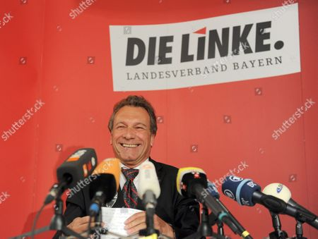 Leader of the Left Party Klaus Ernst Speaks at a Press Conference at the Offices of the Bavarian Left Party in Munich Germany 11 April 2012 Reports State That Ernst's Colleague and Joint Leader of the Left Party Gesine Loetzsch Has Resigned Unexpectedly Due to a Serious Illnes of Her Husband Germany Munich