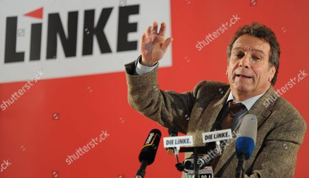 Party Chairman of the Left Party Klaus Ernst Speaks at His Party's 'Political Ash Wednesday' Rally in Tiefenbach Germany 22 February 2012 'Political Ash Wednesday' is a Day when the Parties Traditionally Rally Their Supporters and Give Fiery Speeches Germany Tiefenbach