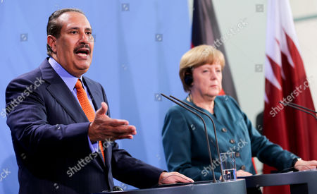 Stock Photo of German Chancellor Angela Merkel and Prime Minister of Qatar Hamad Bin Jassim Bin Jaber Al Thani Hold a Press Conference at the Federal Chancellery in Berlin Germany 16 April 2013 Germany Berlin