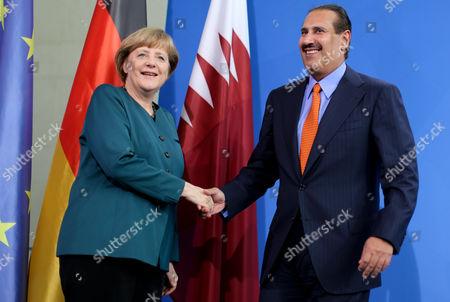 German Chancellor Angela Merkel Says Goodbye to Prime Minister of Qatar Hamad Bin Jassim Bin Jaber Al Thani at the Federal Chancellery in Berlin Germany 16 April 2013 Germany Berlin