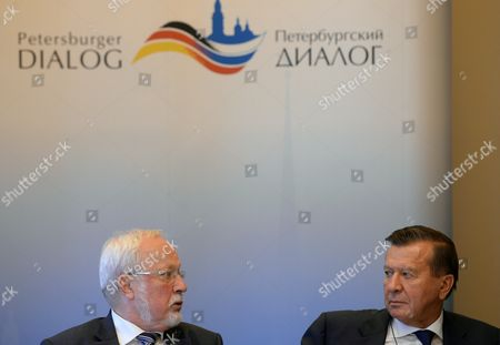 Chairpersons of the Petersburg Dialogue Lothar De Maiziere (l) For Germany and Viktor Zubkov For Russia Give a Press Conference on the State of Preparations For the 13th Petersburg Dialogue in Leipzig Germany 21 October 2013 the Next German-russian Discussion Forum For the Promotion of Cooperation Between the Two Societies Will Take Place in Germany in December 2013 Germany Leipzig