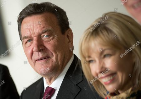 Former German Chancellor Gerhard Schroeder (l) Stands Next to His Wife Doris Schroeder-koepf During a Reception For His 70th Birthday in Hanover Germany 07 April 2014 Germany Hanover