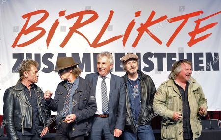 Stock Picture of Musicians Peter Maffay (l-r) and Udo Lindenberg Mayor of Cologne Juergen Roters (spd) and Musicians Wolfgang Niedecken and Tommy Engel Pose at a Press Conference in the Run-up to the 10th Anniversary (09 June) of a Bomb Attack by the Far-right German Terrorist Group National Socialist Underground (nsu) in Cologne Germany 28 April 2014 an Art and Culture Festival Against Right-wing Terrorism Takes Place Under the Motto 'Birlitke - to Stand Together' in Cologne From 07 Till 09 June 2014 Germany Cologne