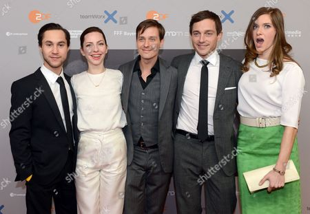 Actors/cast Members Ludwig Trepte (l-r) Katharina Schuettler Tom Schilling Volker Bruch and Miriam Stein Arrive For the Premiere of the Three-part Zdf Television Movie 'Unsere Muetter Unsere Vaeter' (lit : Our Mothers Our Fathers) at the Astor Filmlounge in Berlin Germany 12 March 2013 the Episodes Will Be Broadcast on 17 18 and 20 March Germany Berlin