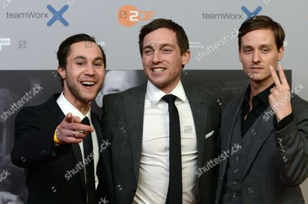 Actors/cast Members Ludwig Trepte (l-r) Volker Bruch and Tom Schilling Arrive For the Premiere of the Three-part Zdf Television Movie 'Unsere Muetter Unsere Vaeter' (lit : Our Mothers Our Fathers) at the Astor Filmlounge in Berlin Germany 12 March 2013 the Episodes Will Be Broadcast on 17 18 and 20 March Germany Berlin