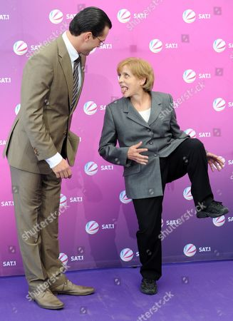 Actor Kai Schumann As Karl-theodor Zu Guttenberg and Katharina Thalbach As German Chancellor Merkel Pose at a Photocall of the Film 'The Minister' of Broadcaster Sat 1 in Berlin Germany 21 September 2012 the Satire is Concerned with the Controversy Surrounding Karl-theodor Zu Guttenberg's Plagiarized Thesis and Shall Be Screened in 2013 Germany Berlin