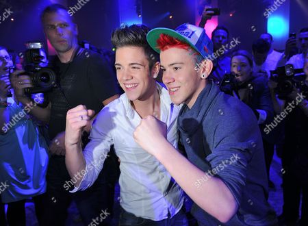 Luca Haenni of Switzerland (l) is Congratulated by Runner-up Daniele Negroni After Winning the Casting Show 'Deutschland Sucht Den Superstar' in Cologne Germany 28 April 2012 Germany Cologne