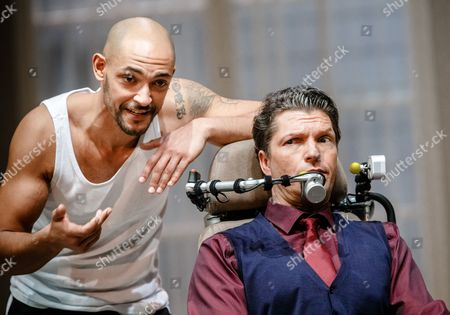 A Picture Made Available on 23 March 2014 Shows German Actor Hardy Krueger Jr (r) As Philippe and Actor Patrick Abozen (l) As Driss Performing During the Photo Rehearsal of the Play 'Ziemlich Beste Freunde' (the Intouchables) in Hamburg Germany 21 March 2014 the Show Will Premiere at the Hamburger Kammerspiele Theater on 23 March Germany Hamburg
