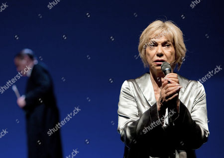 Stock Image of Geman Actress Judy Winter (r) As Hilde and Stephan Benson As Mephisto Perform During a Rehearsal For the Play 'Hilde Knef - the Devil and the Diva' at Theater Am Kurfuerstendamm in Berlin Germany 30 May 2013 Knef was the First German Actress Being Celebrated on Broadway and One of the Last German Divas the Piece Premiers 01 June 2013 Germany Berlin