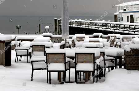 A View of Tables and Chairs Covered in a Thick Layer of Snow in a Beer Garden in Stegen Germany 18 January 2013 Sub-zero Temperatures Are Forecast in the Region Over the Coming Days Epa/karl Josef Hildenbrand Germany Stegen