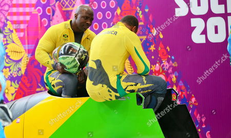 Winston Watts and Marvin Dixon of Jamaica Seen After the First Run of the Two-man Bobsleigh Competition at the Sanki Sliding Center at the Sochi 2014 Olympic Games Krasnaya Polyana Russia 16 February 2014 Russian Federation Krasnaya Polyana