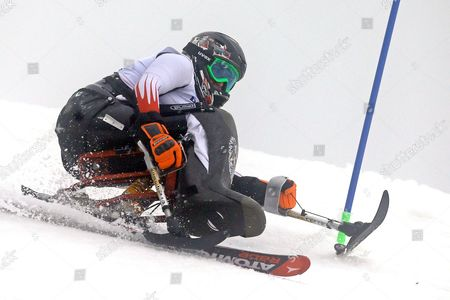 Claudia Loesch of Austria Competes in the Women's Super Combined Slalom Sitting at Rosa Khutor Alpine Center at the Sochi 2014 Paralympic Winter Games Krasnaya Polyana Russia 11 March 2014 Russian Federation Krasnaya Polyana