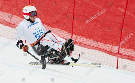 Akira Kano of Japan Competes in the Men's Super-g Sitting Race at the Winter Paralympics 2014 Sochi in Krasnaya Polyana Russia 09 March 2014 Russian Federation Sotschi