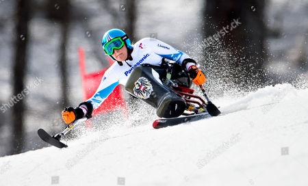 Claudia Loesch of Austria in Action During the Women's Super G - Sitting Race at Rosa Khutor Alpine Center During the Sochi 2014 Paralympic Winter Games Krasnaya Polyana Russia 10 March 2014 Russian Federation Sotschi