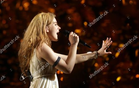 Danish Singer Emmelie De Forest Performs Her Winning Song 'Only Teardrops' During the Grand Final of the 58th Annual Eurovision Song Contest at the Malmo Arena in Malmo Sweden 18 May 2013 the Annual Event is Watched by Millions of Television Viewers who Also Take Part in Voting Sweden Malmoe