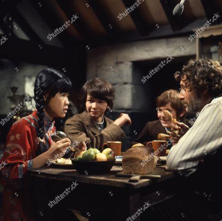 Victor Winding (as Barnaby Sweet) and Pik Sen Lim (as Su Ling), with (Dai) David Bradley (as Peter Weekes) and Philip Maskery (as David Stilgoe)