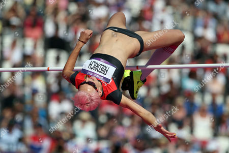 Stock Image of Ariane Friedrich of Germany Competes in the Women's High Jump Qualification at the London 2012 Olympic Games Athletics Track and Field Events at the Olympic Stadium London Britain 09 August 2012 United Kingdom London