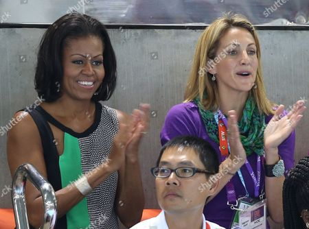 Us First Lady Michelle Obama (l) and Former Us Swimmer Summer Sanders Attend the Swimming Competition at the Aquatics Centre at the London 2012 Olympic Games London Great Britain 28 July 2012 United Kingdom London