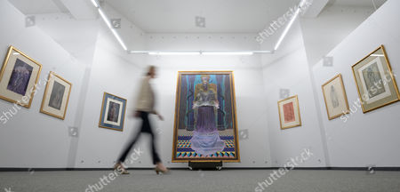 Aáwoman Walks Past Pictures of Austrian Painter Ernst Fuchs at the Kunsthalle Messmer in Riegel Germany 03 April 2014 at the Center Hangs the Large Painting 'Adam Kadmon' the Exhibition 'Hundertwasser and Ernst Fuchs' Runs From 05 April to 14 September Germany Riegel