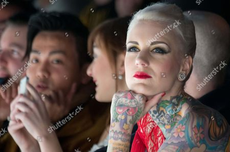 Austrian-born Tattoo Model Lexy Hell (r) Attends the Marc Stone Show During the Mercedes-benz Fashion Week in Berlin Germany 15 January 2013 the Presentations of the Fall-winter 2013/2014 Collections Takes Place at the Mercedes-benz Fashion Week Berlin From 15 to 18 January Germany Berlin