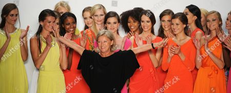 Chief Designer of Laurel Elisabeth Schwaiger (c) Celebrates at the End of Laurel's Show During the Mercedes-benz Fashion Week in Berlin Germany 05 July 2012 the Presentation of the Spring/summer 2013 Collections Takes Place From 04 to 07 July 2012 Germany Berlin