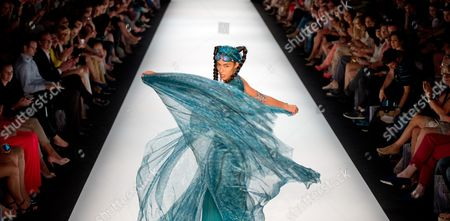 A Model Presents a Creation by Miranda Konstantinidou During the Mercedes-benz Fashion Week in Berlin Germany 05 July 2013 the Presentation of the Spring-summer 2014 Collections Runs From 02 to 07 July Germany Berlin