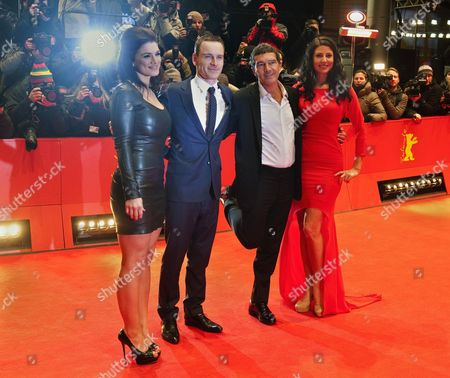 Spanish Actor Antonio Banderas (2nd R) Us Actress Gina Carano (l) Irish-german Actor Michael Fassbender and Actress Natascha Berg (r) Arrive For the Premiere of the Movie 'Haywire' During the 62nd Berlin International Film Festival in Berlin Germany 15 February 2012 the Movie is Presented in the Section Competition Special Screening at the 62nd Berlinale Running From 09 to 19 February Germany Berlin