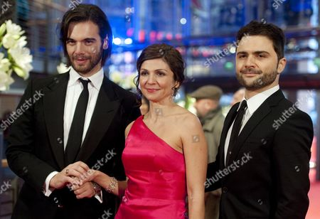 (l-r) Greek Actor Theo Alexander Actress Tamila Koulieva and Greek Director Spiros Stathoulopoulos Arrive For the Premiere of the Movie 'Meteora' During the 62nd Berlin International Film Festival in Berlin Germany 12 February 2012 the Movie is Presented in Competition at the 62nd Berlinale Running From 09 to 19 February Germany Berlin