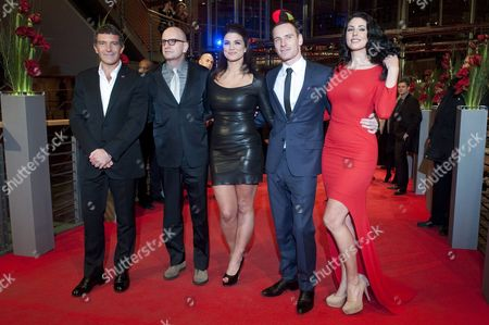 Spanish Actor Antonio Banderas (l-r) Us Director Steven Soderbergh Us Actress Gina Carano Irish-german Actor Michael Fassbender and Actress Natascha Berg Arrive For the Premiere of the Movie 'Haywire' During the 62nd Berlin International Film Festival in Berlin Germany 15 February 2012 the Movie is Presented in the Section Competition Special Screening at the 62nd Berlinale Running From 09 to 19 February Germany Berlin