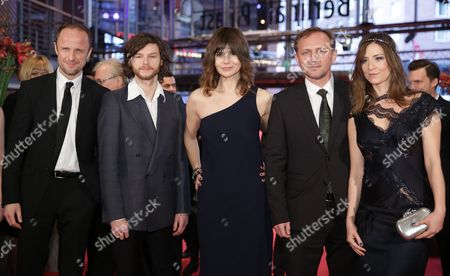 (l-r) Polish Actors Lukasz Simlat Mateusz Kosciukiewicz Director Malgoska Szumowska and Actors Andrzej Chyra and Maja Ostaszewska Arrive For the Premiere of Their Movie 'In the Name Of' (w Imie ) During the 63rd Annual Berlin International Film Festival in Berlin Germany 08 February 2013 the Movie is Presented in the Competition at the Berlinale Germany Berlin