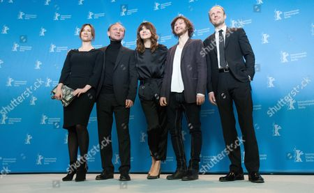 Stock Picture of Actress Maja Ostaszewska (l-r) Actor Andrzej Chyra Director Malgoksa Szumowska of Poland Actor Mateusz Kosciukiewicz and Actor Lukasz Simlat Pose at a Photocall For 'In the Name Of' (w Imie) During the 63rd Annual Berlin International Film Festival in Berlin Germany 08 February 2013 the Movie is Presented in the Competition at the Berlinale Runs From 07 to 17 February Germany Berlin