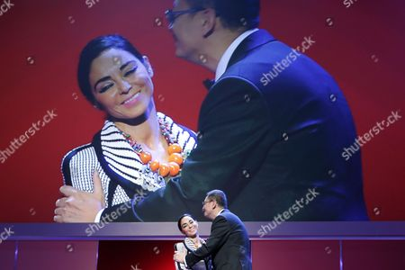 Chinese Director and Berlinale Jury President Wong Kar Wai (r) Greets Iranian Filmmaker Shirin Neshat (l) on Stage During the Opening Ceremony of the 63rd Annual Berlin International Film Festival in Berlin Germany 07 February 2013 Wong Kar Wai's Movie 'The Grandmaster' (yi Dai Zong Shi') Has Been Selected As the Opening Film For the Berlinale and is Presented in the Offical Section out of Competion the Film Festival Runs From 07 to 17 February Germany Berlin