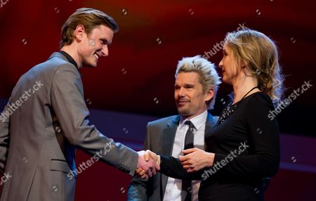 Danish Actor Mikkel Boe Folsgaard (l) Receives the Shooting Star 2013 Trophy From French Actress Julie Delpy (r) and Us Actor Ethan Hawke (c) During the 63rd Annual Berlin International Film Festival in the Berlinale Palace in Berlin Germany 11 February 2013 the Berlinale Runs From 07 to 17 February Germany Berlin