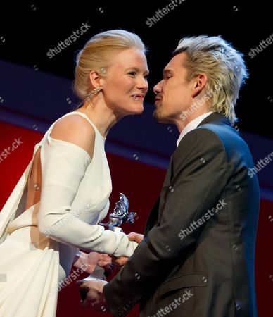 Finnish Actress Laura Birn (l) Receives the Shooting Star 2013 Trophy From Us Actor Ethan Hawke (r) During the 63rd Annual Berlin International Film Festival in the Berlinale Palace in Berlin Germany 11 February 2013 the Berlinale Runs From 07 to 17 February Germany Berlin